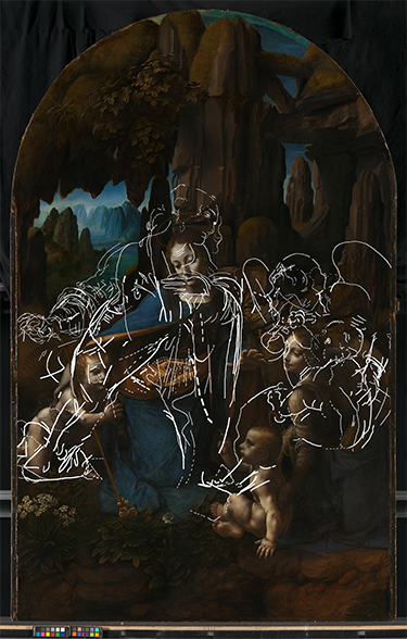The painting with lines indicating the underlying drawing