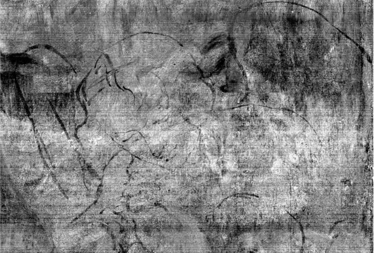"Image of the underdrawing from Leonardo da Vinci's ""The Virgin of the Rocks"""